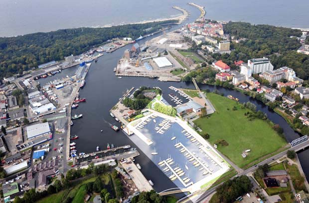 Wizualizacja Mariny Solnej w Kołobrzegu z nowym basenem