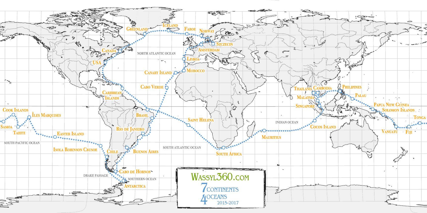 planowana trasa rejsu